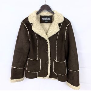 Marvin Richards Brown Faux Fur Fleece Lined Coat